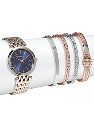 Adrienne Vittadini Two Tone Watch And Crystal Bracelet Set Of 5