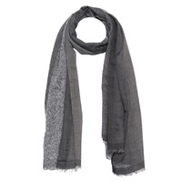 French Connection Boarder Wool Scarf Monochrome