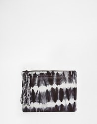 Becksondergaard Becksondergaard Leather Zip Top Clutch Bag In Tie Dye Black