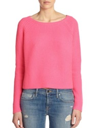 360 Cashmere Scotti Wide Ribbed Cashmere Sweater Neon Pink