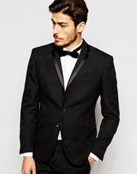 Vito Suit Jacket With Tonal Floral Jacquard In Slim Fit Black