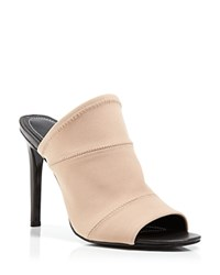 Charles David Slide Sandals Daisy Stretch High Heel Nude