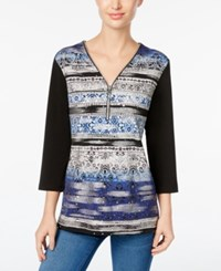 Jm Collection Printed Zip Up Top Only At Macy's Blue Ribbon Wave