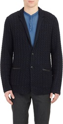 John Varvatos Cable Knit Sweater Jacket Blue Size L
