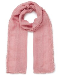 East Crochet Border Scarf Pink