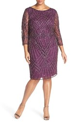 Plus Size Women's Pisarro Nights Embellished Geo Motif Mesh Sheath Dress