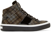 Jimmy Choo Grey Tartan Belgravi High Top Sneakers