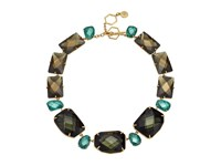 Tory Burch Stone Statement Necklace Denim Blue Gold Necklace Multi