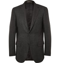 Canali Charcoal Slim Fit Herringbone Wool And Cashmere Blend Blazer Gray