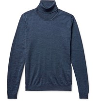 Hugo Boss Musso Melange Merino Wool Rollneck Sweater Navy