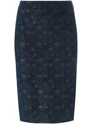 Romeo Gigli Vintage Glitter Pencil Skirt Blue