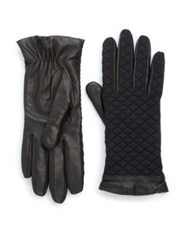 Moncler Leather Trim Short Quilted Gloves Black
