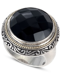 Effy Collection Balissima By Effy Onyx Circle Ring 12 9 10 Ct. T.W. In Sterling Silver And 18K Gold