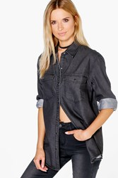 Boohoo Oversized Denim Shirt Charcoal