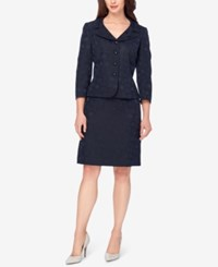 Tahari By Arthur S. Levine Asl Portrait Collar Jacquard Skirt Suit Navy