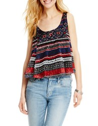 Jessica Simpson Mixed Stripe Swing Tank Red Exotic