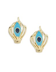 House Of Harlow Abstract Clip On Earrings Blue
