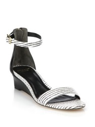 Cole Haan Rossi Striped Snake Embossed Leather Sandals Black White