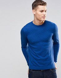 Asos Crew Neck Jumper In Blue Twist Cotton Navy And Bright Blue