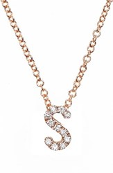 Bony Levy Women's Pave Diamond Initial Pendant Necklace Nordstrom Exclusive Rose Gold S