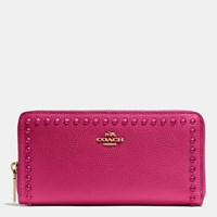 Coach Accordion Zip Wallet In Lacquer Rivets Pebble Leather Light Gold Cerise