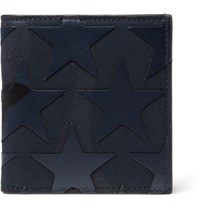 Valentino Star Appliqued Canvas And Leather Billfold Wallet Blue