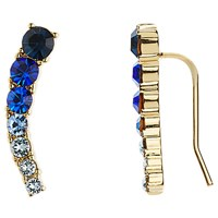 Kate Spade New York 12Ct Gold Plated Glass Stone Ear Pin Drop Earrings Sapphire Blue