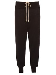 Rick Owens Drawstring Wool Track Pants Black