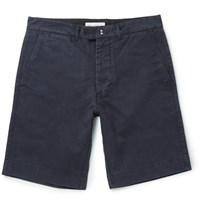 Officine Generale Fisherman Cotton Twill Shorts Navy