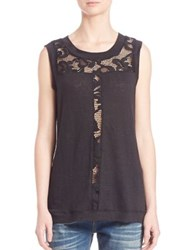 Red Haute Lace Front Tank Black
