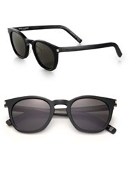 Saint Laurent 49Mm Keyhole Bridge Square Sunglasses Black