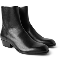 Cuban Heel Grained Leather Boots