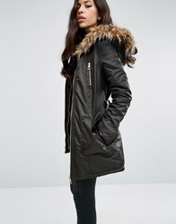 Lipsy Faux Fur Hood Belted Parka Jacket With Zip Pockets Khaki Green