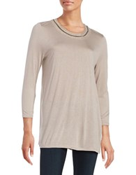 H Halston Embellished Knit Top Dusty Lilac