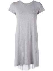 Sacai Draped Insert T Shirt Dress Grey