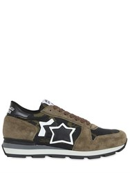 Atlantic Stars Camo Nylon And Suede Running Sneakers