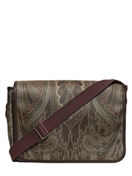 Etro Paisley Print Waxed Canvas Messenger Bag Green