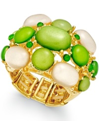 Style And Co. Gold Tone Green Bubble Stone Stretch Ring