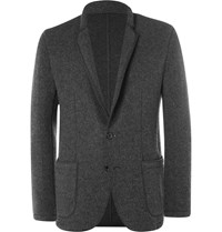 Solid Homme Grey Unstructured Felted Wool Blend Blazer Gray