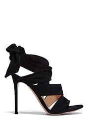 Gianvito Rossi Suede Wrap Heeled Sandals Black