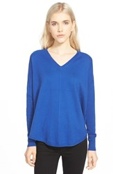 Trouve Women's Trouve 'Everyday' V Neck Sweater Blue Mazarine