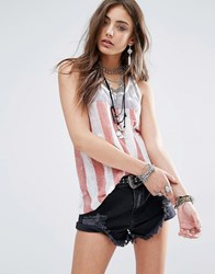 Denim And Supply Ralph Lauren By American Flag All Over Print Tank Top With Sheer Back White