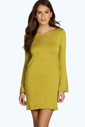 Boohoo Flared Long Sleeve T Shirt Dress Olive