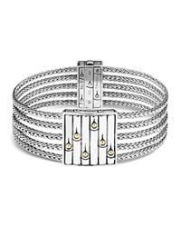 John Hardy 18K Gold And Sterling Silver Bamboo Heritage Multi Row Bracelet Silver Gold