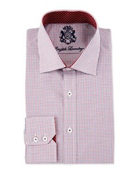 English Laundry Mini Check Long Sleeve Dress Shirt Red Blue