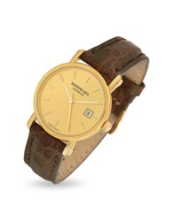 Raymond Weil Brown Croco Stamped Leather Strap 18K Gold Date Dress Watch