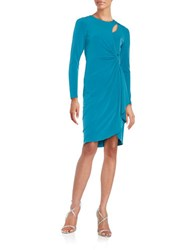 Catherine Malandrino Gordon Knotted Mock Wrap Dress Teal