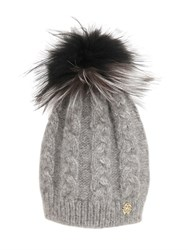 Roberto Cavalli Wool Blend Hat W Fox Fur Pompom