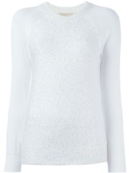 Michael Michael Kors Sequinned Raglan Sweater White
