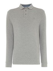 Howick Men's Paxton Plain Pique Long Sleeve Polo Shirt Light Grey Marl